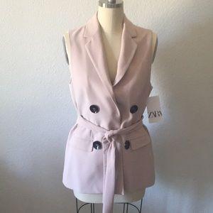 Zara sz L sleeveless double breasted vest NWT